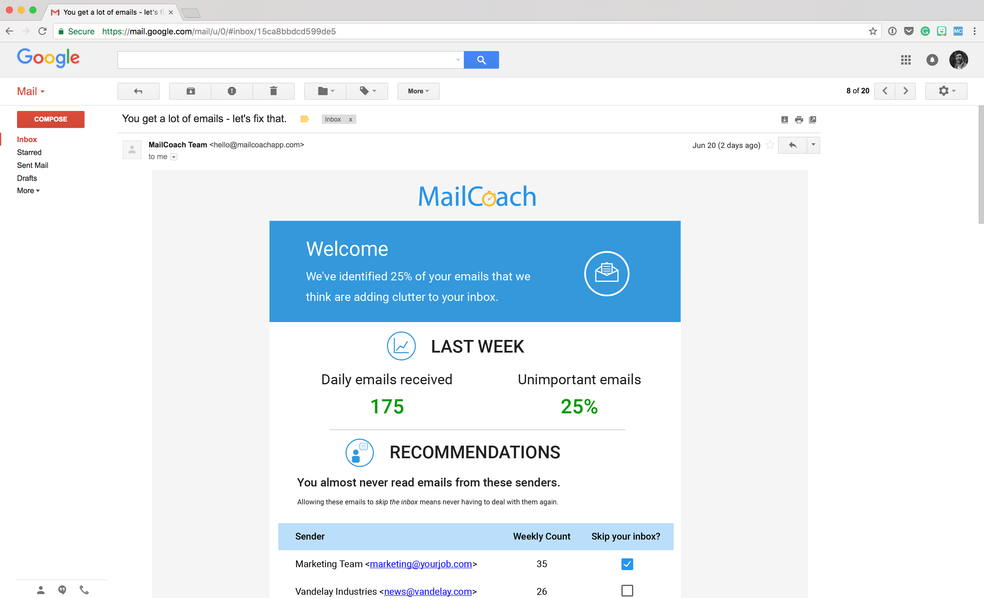 MailCoach Email screenshot